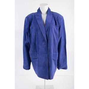 Neiman Marcus Womens Purple Suede Leather Blazer